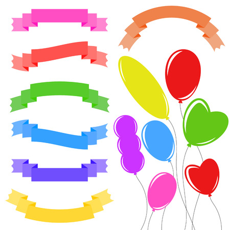 Set of isolated flat colored ribbon banners and flying balloons of various shapes. On a white background. Suitable for design
