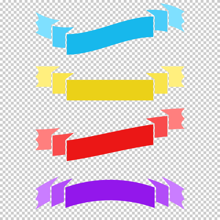 Set of colored flat isolated ribbon banners on a transparent background Illustration
