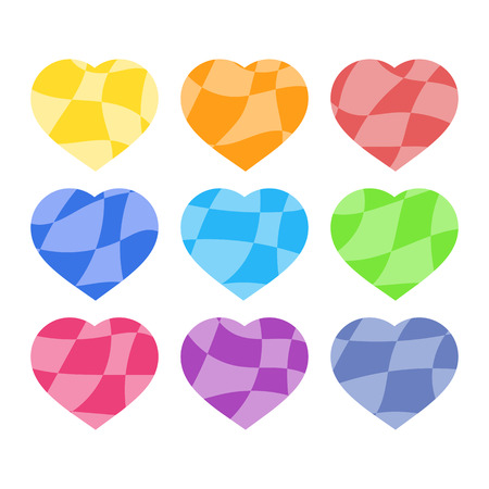 Set of colored isolated silhouettes of hearts on a white background. With a stylish abstract pattern. Simple flat vector illustration. Suitable for decoration of postcards, weddings, holidays, sites. Illusztráció