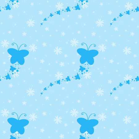 Color seamless pattern of cute blue silhouettes of butterflies on a background of falling small flowers. Simple flat vector illustration. Suitable for Wallpaper, fabric, wrapping paper, covers. Illustration