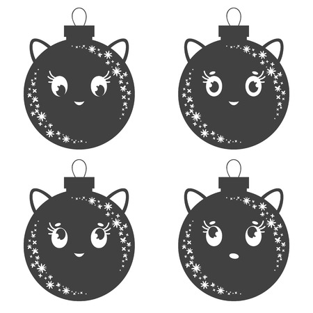 Set of flat black isolated Christmas tree toms toys with ears. Simple design for decoration. On a white background.