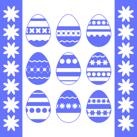 Set of blue isolated Easter eggs on a white background. With an abstract pattern. Simple flat vector illustration. Suitable for decoration of postcards, advertising, magazines, websites. Ilustrace