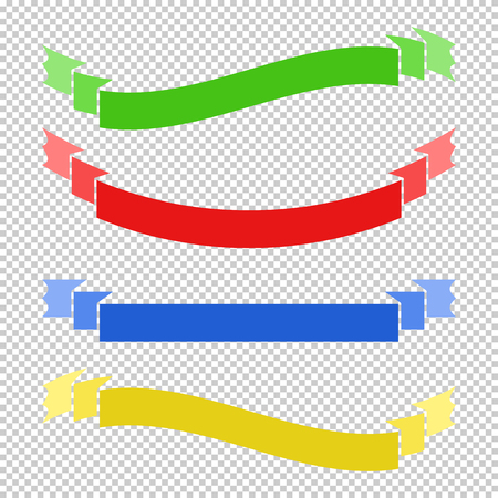 Set of colored flat insulated long ribbons banners on a transparent background