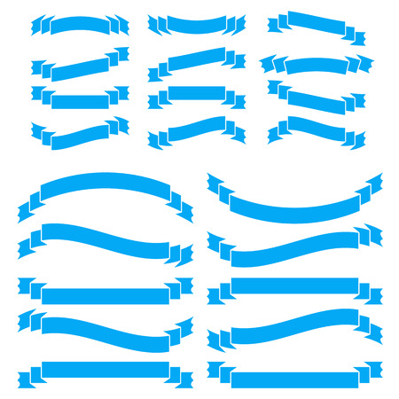 Set of blue long and short insulated ribbons isolated on white background. Simple flat vector illustration. With space for text. Suitable for infographics, design, advertising, holidays, labels.