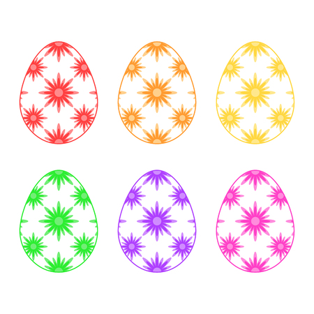 Set of colored isolated Easter eggs on a white background. With an abstract floral pattern. Simple flat vector illustration. Suitable for decoration of postcards, advertising, magazines, websites.