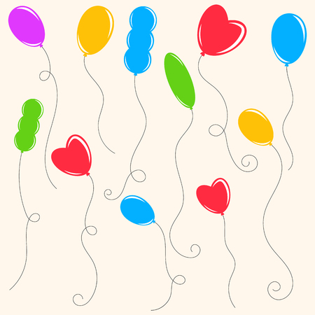 Set of colored isolated cute balloons on a beige background. Simple flat vector illustration. Suitable for the design of postcards, weddings, holidays, sites.