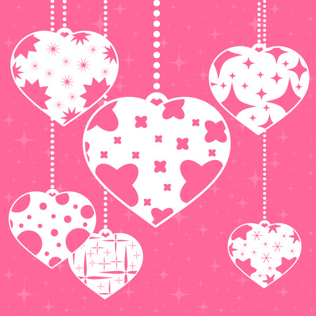 Set of colored insulated heart pendants on a pink background. With an abstract pattern. Simple flat vector illustration. Design for St. Valentine s Day Illustration