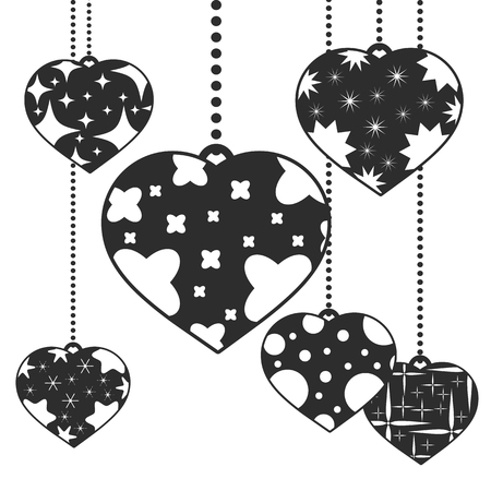 Set of black isolated silhouettes of cute pendant hearts on a white background. With an abstract pattern. Simple flat vector illustration. Design for St. Valentine s Day Ilustração