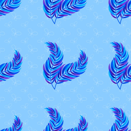 Colorful seamless pattern of abstract leaves on a blue background. Simple flat vector illustration. For the design of paper wallpaper, fabric, wrapping paper, covers, web sites.