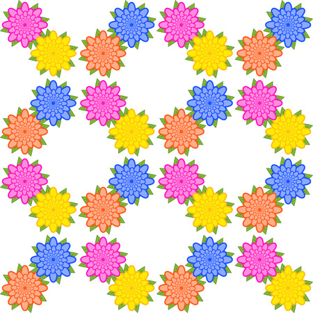 Colorful seamless pattern of abstract flowers on a white background. Simple flat vector illustration. For the design of paper wallpaper, fabric, wrapping paper, covers, web sites. Ilustracja