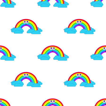 Colorful seamless pattern from a cartoon rainbow with clouds on a white background. Simple flat vector illustration. For the design of paper wallpaper, fabric, wrapping paper, covers, web sites. Illustration