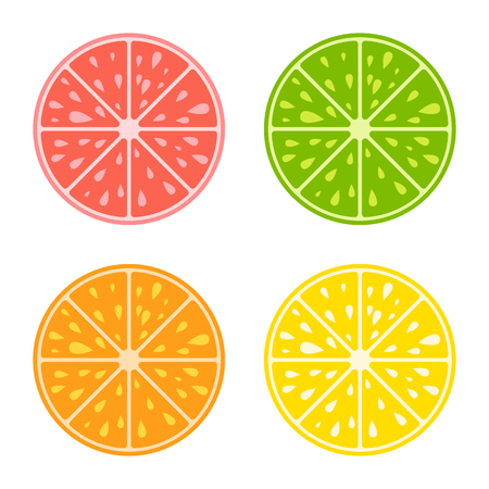 Set of colored isolated apetitic slices of fruit on white background. Juicy, bright, delicious tropical food. Simple flat vector illustration. Suitable for design of packages, postcards, advertising.