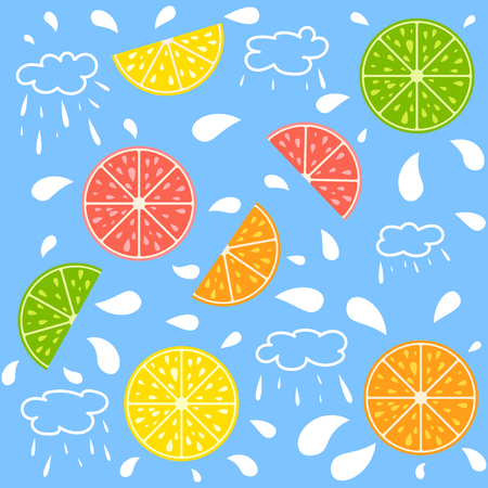 Set of halves of colored isolated appetizing citrus fruits with white drops on a blue background. Juicy, bright, delicious tropical food. Lime, lemon, grapefruit, orange. Simple flat vector illustrati