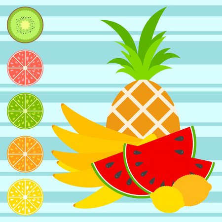Set of colored insulated delicious fruits on a striped background. Juicy, bright, delicious tropical food. Simple flat vector illustration. Suitable for design of packages, postcards, advertising.