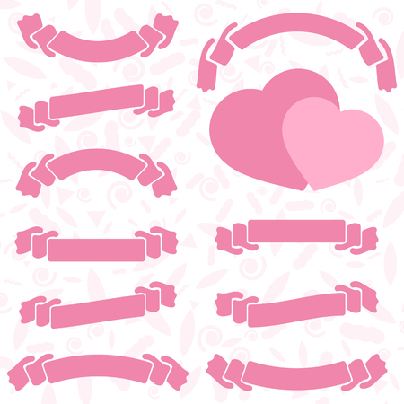 Set of colored isolated silhouettes of cute hearts and ribbon banners on white background. Simple flat vector illustration. Design for St. Valentine s Day