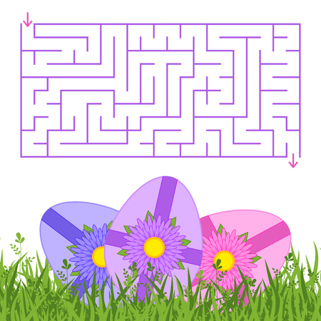Abstract rectangular isolated labyrinth. Purple colors. An interesting and useful game for children and adults. Simple flat vector illustration. With festive Easter eggs on the green grass.