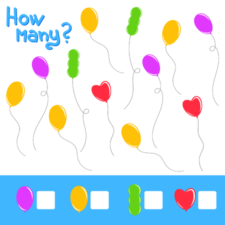 Game for preschool children. Count as many balloons in the picture and record the result. Bright colors. With a place for answers. Simple flat isolated vector illustration. Illustration