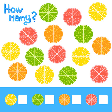 Counting game for preschool children for the development of mathematical abilities. How many fruits lemon, orange, grapefruit, lime . Simple flat isolated vector illustration. Illustration