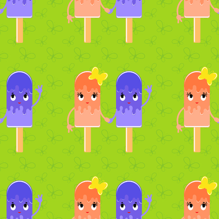 Colorful seamless pattern of cute smiling esimo on a green background. Simple flat vector illustration. For the design of paper wallpapers, fabric, wrapping paper, covers, web site design.