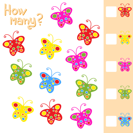 Game for preschool children. Count up as many butterflies in the picture and write down the result. With a place for answers. Simple flat isolated vector illustration.