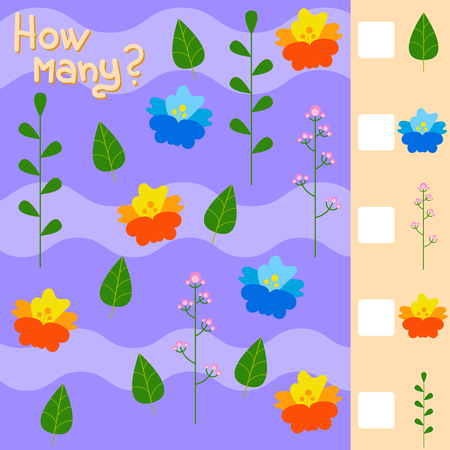 Game for preschool children. Count as many flowers and plants in the picture and write down the result. With a place for answers. Simple flat isolated vector illustration.