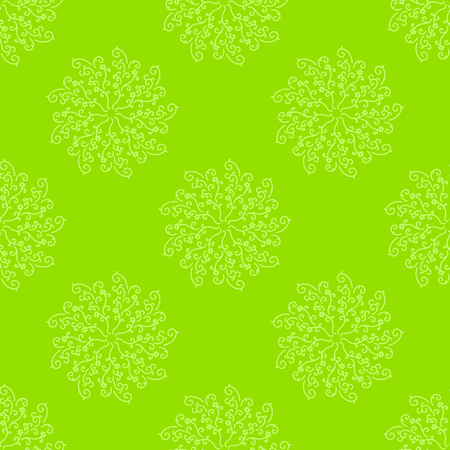 Colorful seamless pattern of abstract patterns on a green background. Simple flat vector illustration. For the design of paper wallpaper, fabric, wrapping paper, covers, web sites.