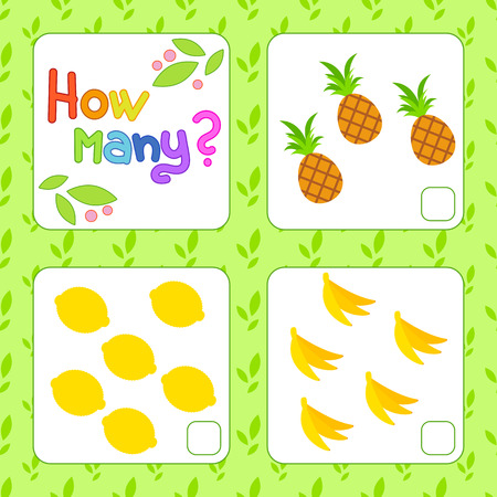 Game for preschool children. Count as many fruits in the picture and write down the result. Pineapple, lemon, banana. With a place for answers. Simple flat isolated vector illustration.