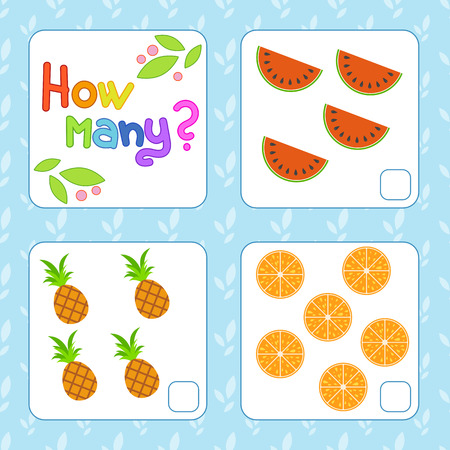Game for preschool children. Count as many fruits in the picture and write down the result. Watermelon, pineapple, orange. With a place for answers. Simple flat isolated vector illustration. Illustration