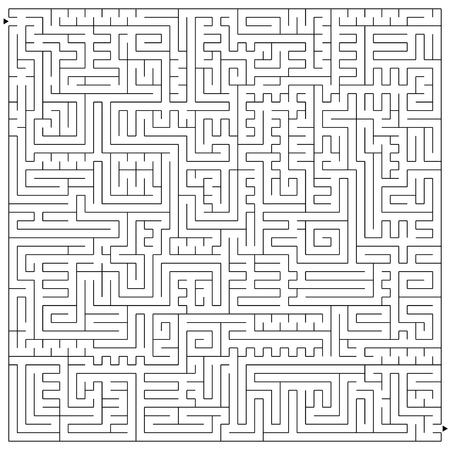 Abstract square complex isolated labyrinth. Black color on a white background. An interesting and useful game for children and adults. Simple flat vector illustration.