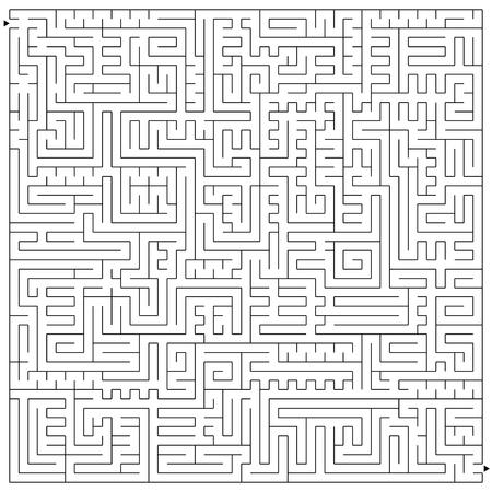 Laberinto aislado complejo cuadrado abstracto. Color negro sobre fondo blanco. Un juego interesante y útil para niños y adultos. Ilustración de vector plano simple.