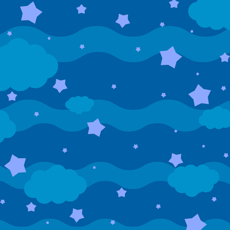 Colorful abstract background with night sky, stars and clouds. Simple flat vector illustration.