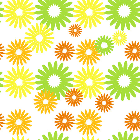 Colorful abstract seamless pattern with silhouettes of fantastic flowers. Simple flat vector illustration.