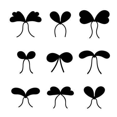 Conjunto de siluetas de arcos con cintas para la decoración de un regalo para unas vacaciones. Ilustración de vector plano simple aislado sobre fondo blanco.