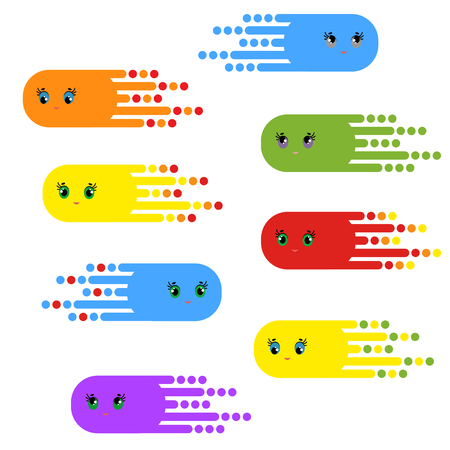 A set of flying fantastic characters of bright colors. Simple flat vector illustration isolated on white background.