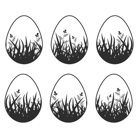 Set of black silhouettes isolated Easter eggs on a white background. With an abstract pattern. Simple flat vector illustration. Suitable for decoration of postcards, advertising, magazines, websites.  イラスト・ベクター素材