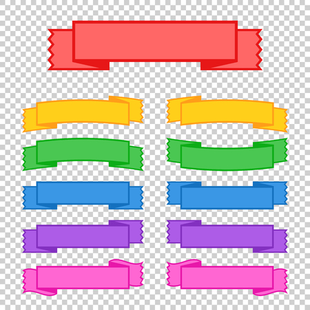 Set of colored ribbon banners. With space for text. A simple flat vector illustration isolated on a transparent background. Suitable for infographics, design, advertising, holidays, labels.