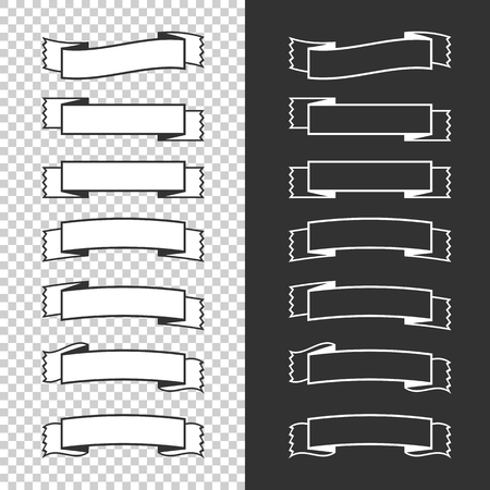 A set of banner ribbons. With space for text. A simple flat vector illustration isolated on a black and transparent background.