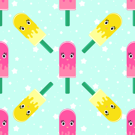 Colorful seamless pattern of cute smiling Eskimo on a blue background. Simple flat vector illustration. For the design of paper wallpaper, fabric, wrapping paper, covers, web sites.