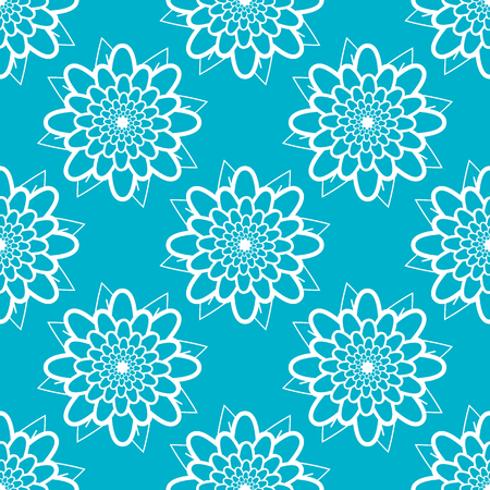 Colored seamless pattern of silhouettes of abstract flowers. Simple flat vector illustration. For the design of paper wallpaper, fabric, wrapping paper, covers, web sites.