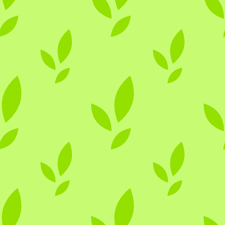 Colorful seamless pattern of cute green leaves on a light background. Simple flat vector illustration. For the design of paper wallpaper, fabric, wrapping paper, covers, web sites.