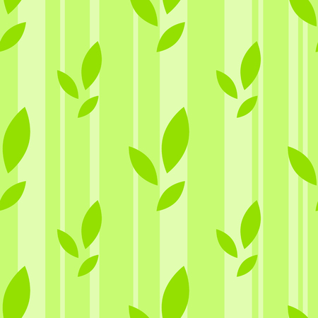 Colorful seamless pattern of cute green leaves on a striped background. Simple flat vector illustration. For the design of paper wallpaper, fabric, wrapping paper, covers, web sites.