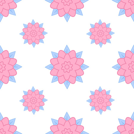 Colorful seamless pattern of abstract flowers on a white background. Simple flat vector illustration. For the design of paper wallpaper, fabric, wrapping paper, covers, web sites.  イラスト・ベクター素材