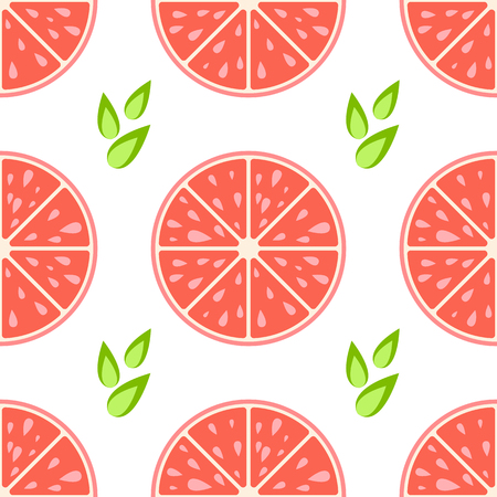 Colorful seamless pattern of delicious grapefruit slices on a white background. Simple flat vector illustration. For the design of paper wallpaper, fabric, wrapping paper, covers, web sites.