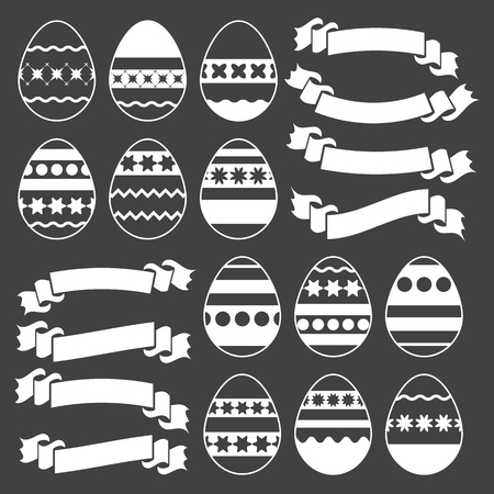 Set of silhouettes with white stroke isolated Easter eggs on a black background. Simple flat vector illustration. Suitable for decoration of postcards, advertising, magazines, websites.  イラスト・ベクター素材