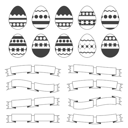 Set of silhouettes with black stroke isolated Easter eggs on a white background. Simple flat vector illustration. Suitable for decoration of postcards, advertising, magazines, websites.