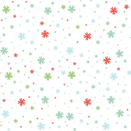 Colored seamless pattern of falling flowers on a white background. Simple flat vector illustration. For the design of paper wallpaper, fabric, wrapping paper, covers, web sites.