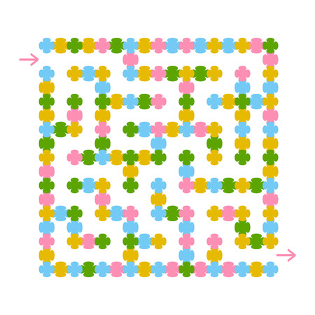 Abstract colored square maze. An interesting game for children and teenagers. A simple flat vector illustration isolated on a white background. With the answer.