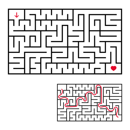 Abstract rectangular labyrinth. An interesting game for children and teenagers. Simple flat vector illustration isolated on white background. With the answer.