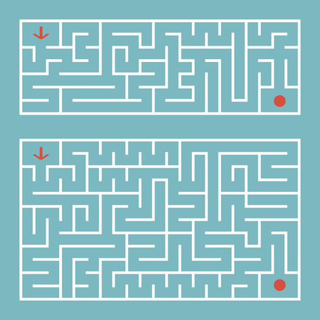 Abstract complex rectangular isolated labyrinth. There are two types in the set. White on a green background. An interesting game for children and adults. Simple flat vector illustration.