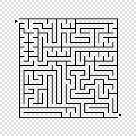 Abstract square maze. An interesting game for children and teenagers. A simple flat vector illustration isolated on a transparent background